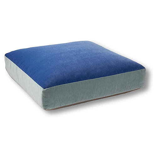 Heather 26x26 Floor Pillow, Cobalt Velvet