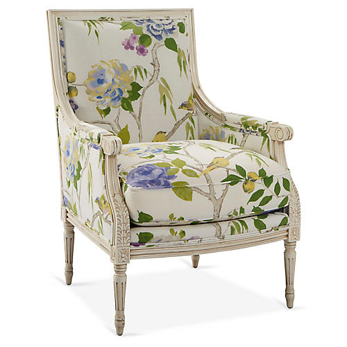 James Accent Chair, White/Green Linen