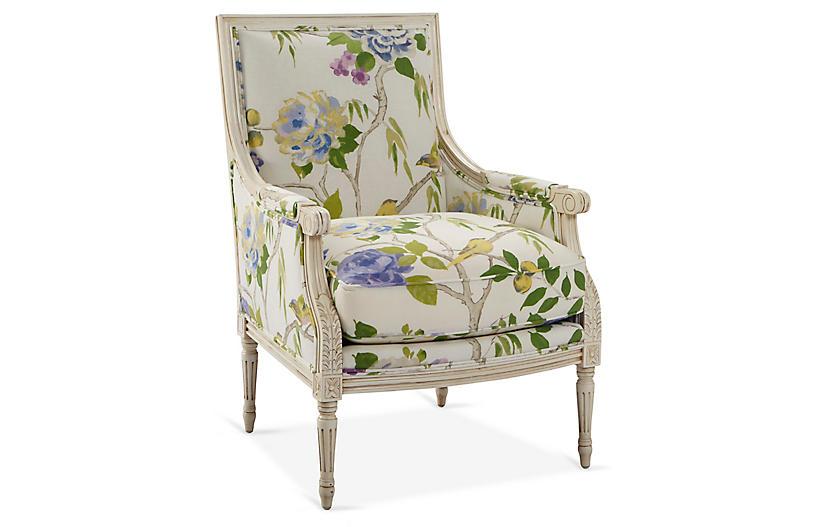 James Accent Chair, White/Green Linen