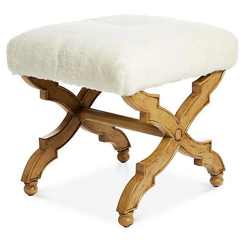 Hampton Ottoman, Ivory Shearling