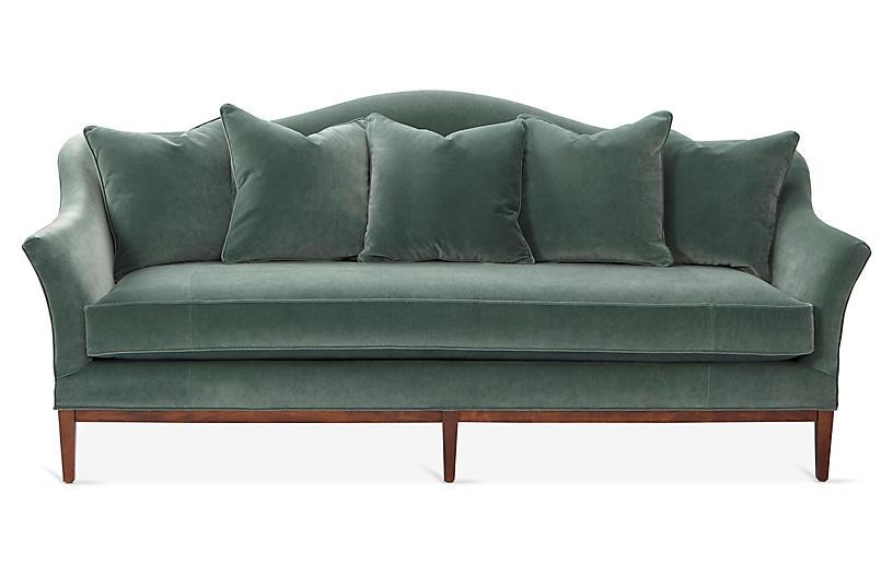Eloise Camelback Sofa, Jade Velvet