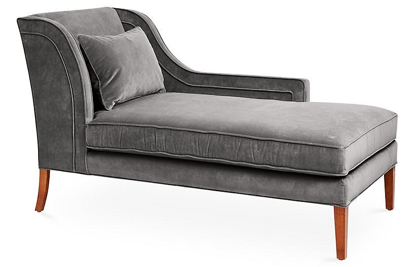 Roslin Right-Facing Chaise, Light Gray Velvet