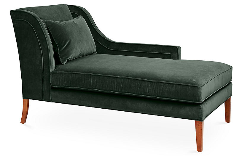 Roslin Right-Facing Chaise, Forest Velvet