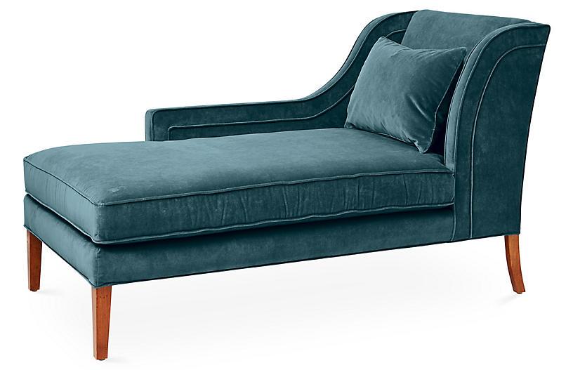 Roslin Left-Facing Chaise, Teal Velvet