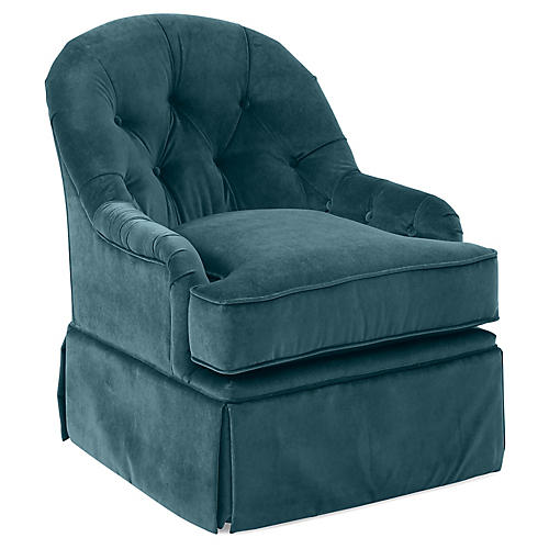 Marlowe Swivel Club Chair, Teal Velvet