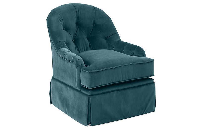 Marlowe Swivel Club Chair, Teal Velvet