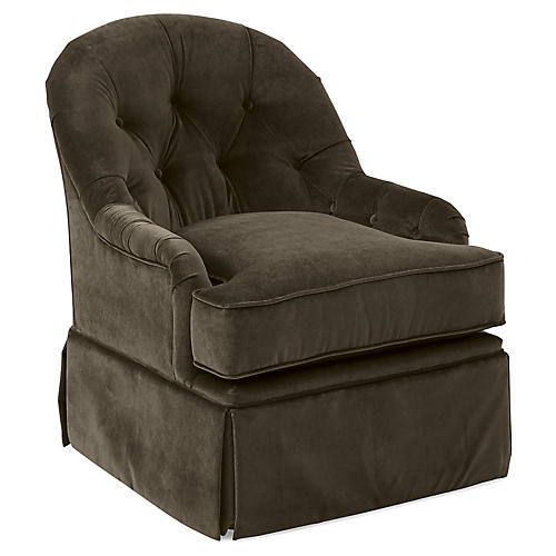 Marlowe Swivel Accent Chair, Charcoal Velvet