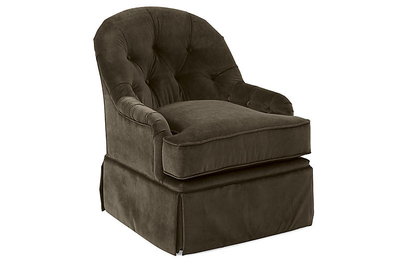 Marlowe Swivel Club Chair, Charcoal Velvet