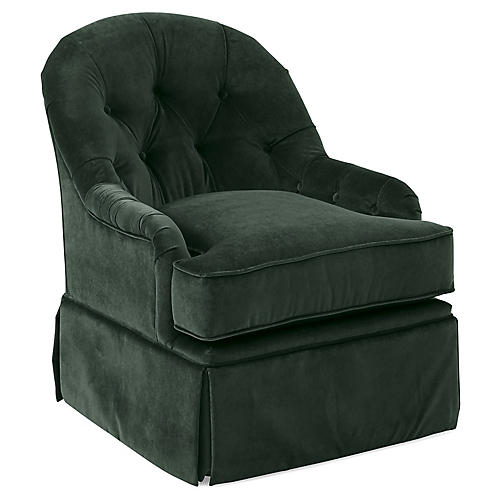 Marlowe Swivel Club Chair, Forest Velvet