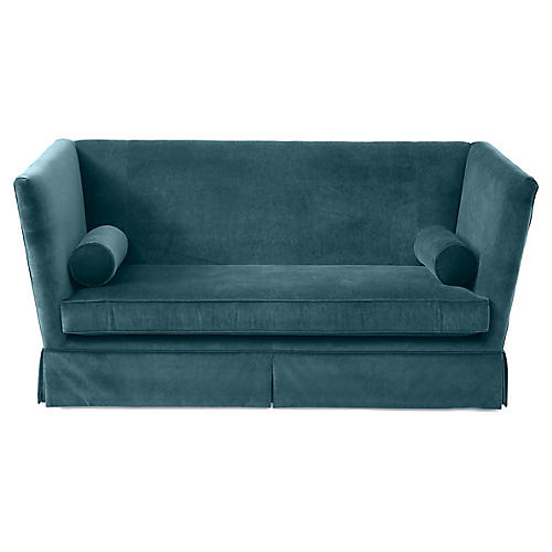 Carlisle Skirted Sofa, Teal Velvet