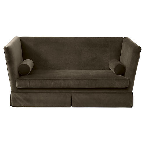 Carlisle Skirted Sofa, Charcoal Velvet