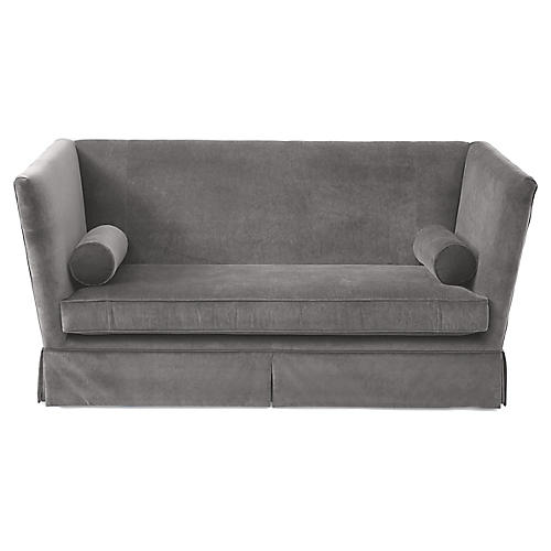 Carlisle Skirted Sofa, Light Gray Velvet