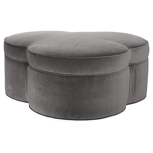 Portsmouth Fully Upholstered Ottoman, Light Gray Velvet