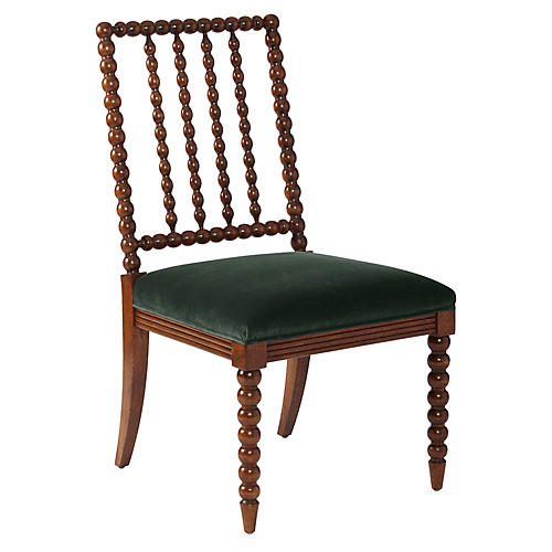 Barton Spindle Side Chair, Forest Velvet