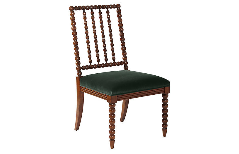 Barton Spindle Side Chair, Forest Velvet