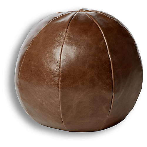 Emma 12x12 Ball Pillow, Cedar Leather