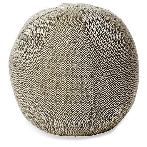 Hedera 12x12 Ball Pillow, Moss/Cream