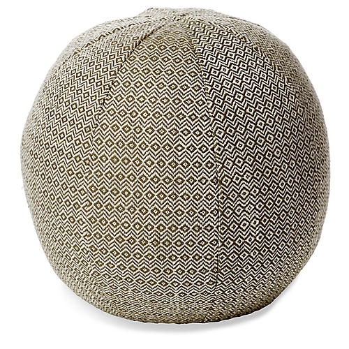 Hedera 12x12 Ball Pillow, Moss/Cream