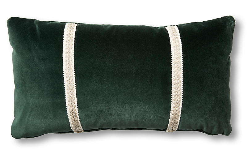 Mallory 12x23 Lumbar Pillow, Forest Velvet