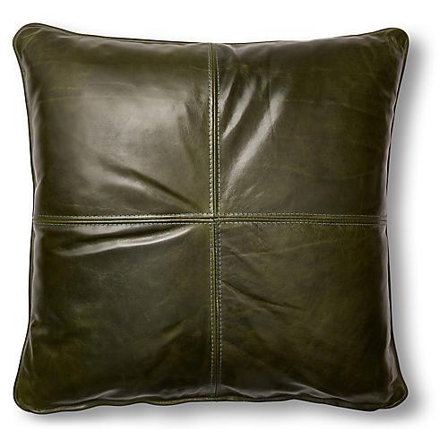 Ada 19x19 Pillow, Evergreen Leather