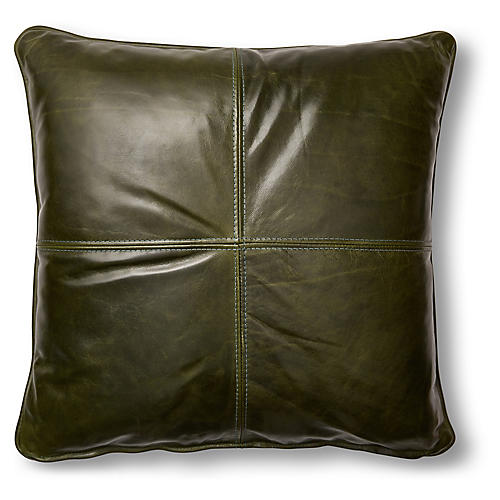 Adena 19x19 Pillow, Evergreen Leather