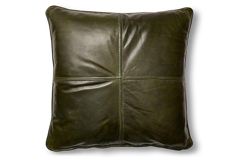 Adena 19x19 Pillow, Evergreen Leather
