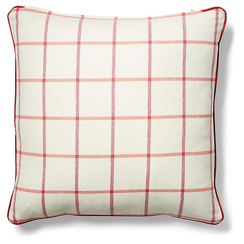 Morgan 19x19 Pillow, Ivory/Currant
