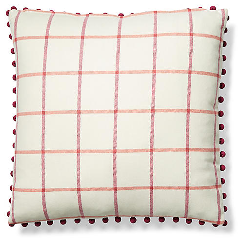 Mira 19x19 Pillow, Ivory/Currant