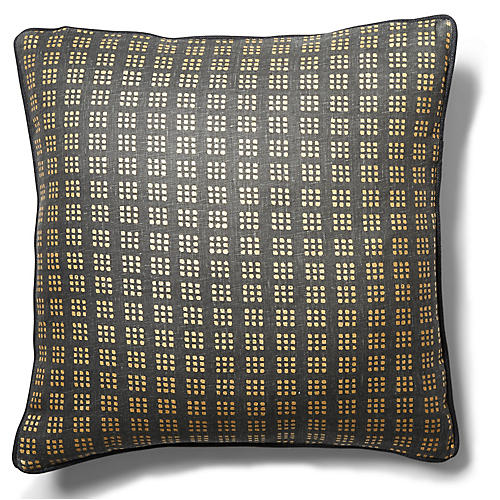 Whitney 19x19 Pillow, Black/Gold Linen