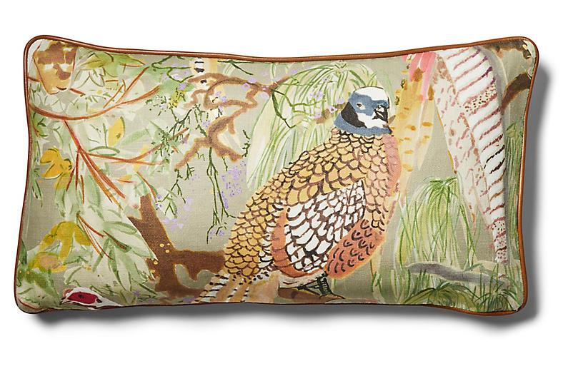 Henley 12x23 Lumbar Pillow, Pheasant/Stone Linen