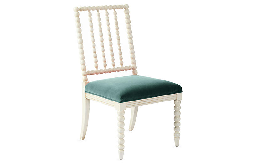 Barton Spindle Side Chair, Ivory/Jade Velvet