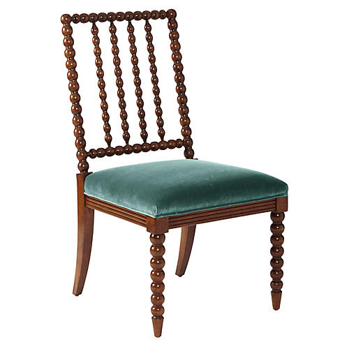 Barton Spindle Side Chair, Chestnut/Jade Velvet