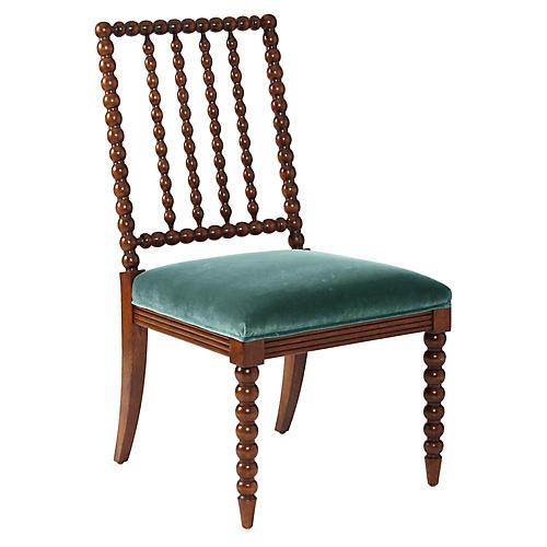 Barton Spindle Side Chair, Chestnut/Jade Velvet
