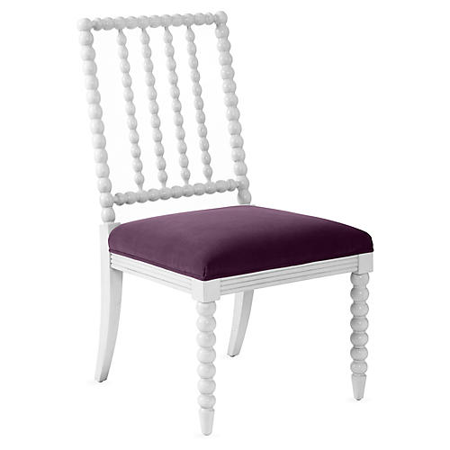 Barton Spindle Side Chair, Ivory/Fig Velvet