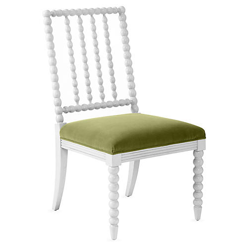 Barton Spindle Side Chair, Ivory/Moss Velvet