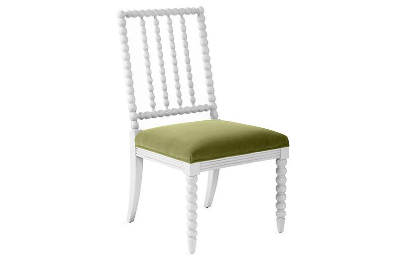Barton Spindle Side Chair, Ivory/Moss Velvet