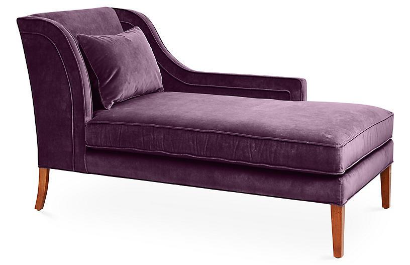 Roslin Right-Facing Chaise, Fig Velvet