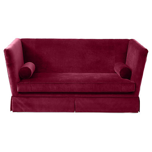 Carlisle Skirted Sofa, Currant Velvet