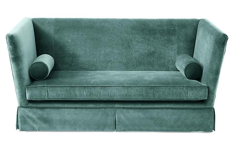 Carlisle Skirted Sofa, Jade Velvet