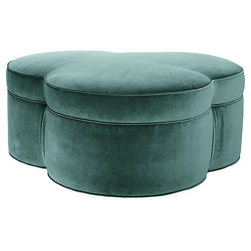 Portsmouth Fully Upholstered Ottoman, Jade Velvet