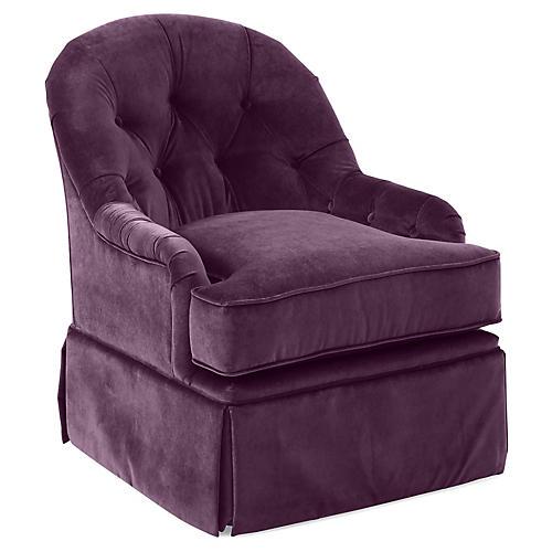 Marlowe Swivel Club Chair, Fig Velvet