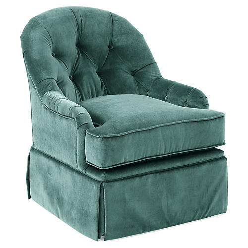 Marlowe Swivel Chair, Jade Velvet