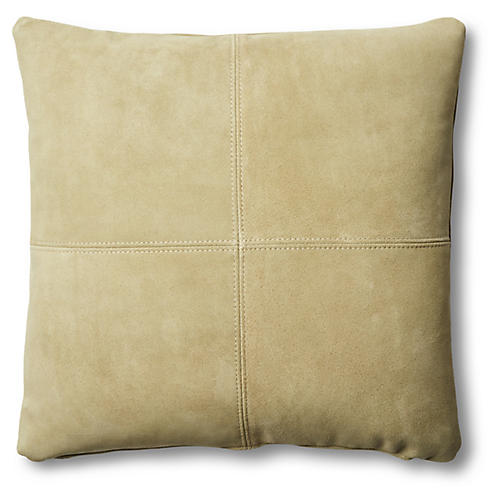 Ava Pillow, Olive Suede Suede