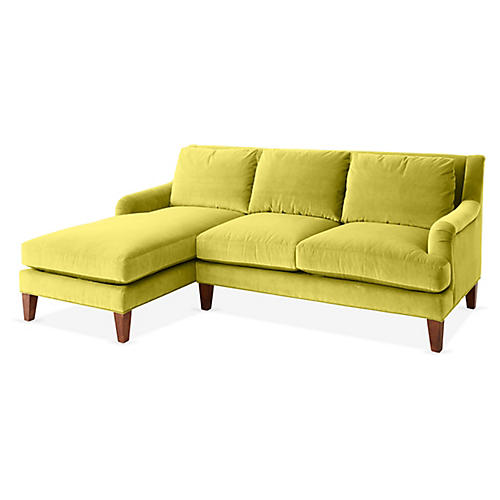 Merrimack Left-Facing Sectional, Chartreuse Velvet