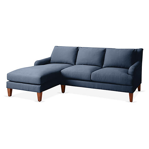Merrimack Left-Facing Sectional, Navy Linen