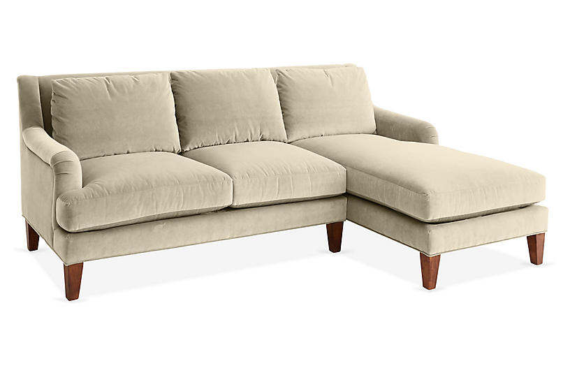 Merrimack Right-Facing Sectional, Bisque Velvet