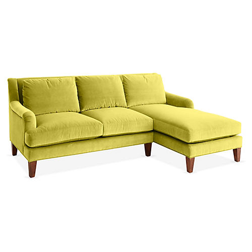 Merrimack Right-Facing Sectional, Chartreuse Velvet