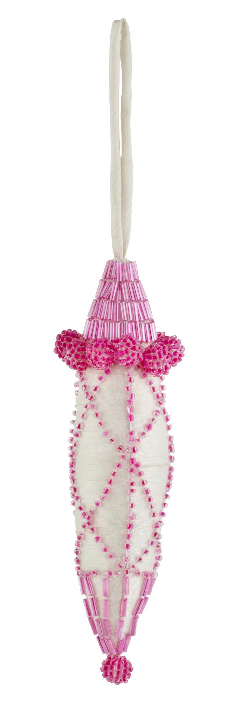 Silk Ornament w/ Beading, Pink/Ivory