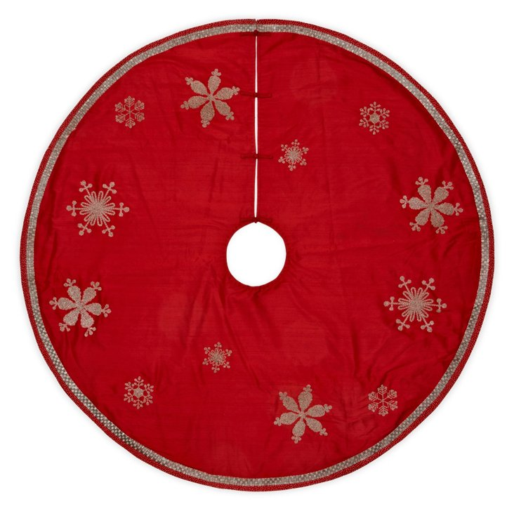 Silk Snowflake Tree Skirt, Red/Silver