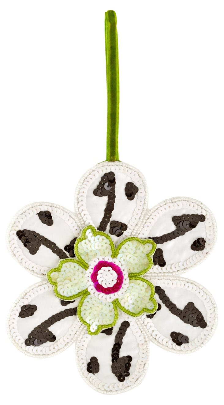 Sequined Flower Ornament, Green